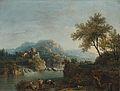 Giovanni Battista Cimaroli - Paesaggio fluviale con figure e un asino.jpg