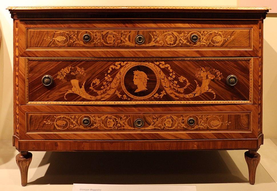 Giuseppe maggiolini, cassettone intarsiato, 1790, firmato