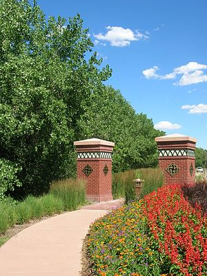 Glendale, Colorado - A walkway between Cherry Creek and Cherry Creek S Dr, east of Cherry St.
