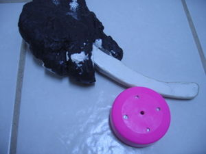 Hockey puck - Underwater Hockey puck pushed by stick
