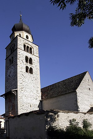 Glurns - The church St. Pankratius at the Tauferer Gate in the West of Glurns.