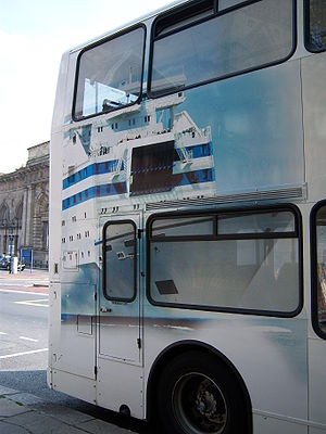 Go North East bus 3890 Dennis Trident Plaxton President NK51 UCT in DFDS Ferry contract livery in Newcastle 25 April 2009 pic 2.JPG