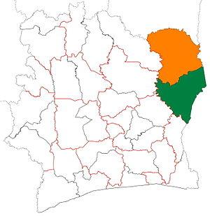 Gontougo - Image: Gontougo region locator map Côte d'Ivoire