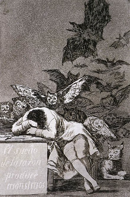 Francisco de Goya, The Sleep of Reason Produces Monsters (El sueno de la razon produce monstruos), c. 1797 Goya Caprichos3.jpg