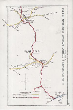 Swindon railway station - A 1906 Railway Clearing House map of railways in the vicinity of Swindon