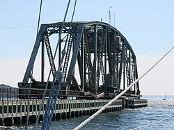 0cd4fd5cc7f92 Swing Span at the east end of the Grand Narrows Bridge open to permit the  passage of marine traffic. The bridge operator s cabin is visible in the  top of ...