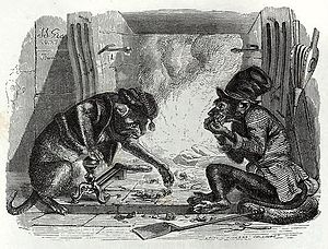 The Monkey and the Cat - J.J. Grandville's illustration from the 1855 edition of La Fontaine's fables
