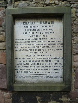 Charles Darwin (medical student) - Memorial tablet above Darwin's grave, Buccleuch Church, Edinburgh