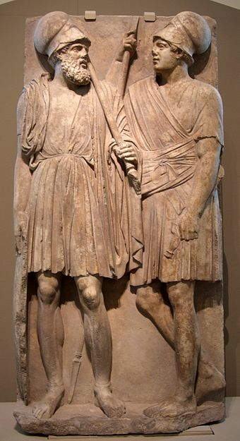 Stele with two Hellenistic soldiers of the Bosporan Kingdom; from Taman peninsula (Yubileynoe), southern Russia, 3rd quarter of the 4th century BC; marble, Pushkin Museum Grave stele 03 pushkin.jpg