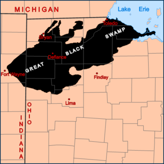 Great Black Swamp - The general extent of the Great Black prior to the 19th century.