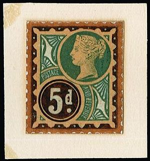 Essay (philately) - A British postage stamp essay, believed to be for the 1887 Jubilee issue.