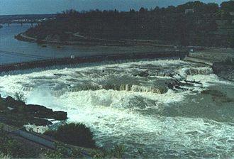 Great Falls (Missouri River) - Black Eagle Falls and Dam in 1988