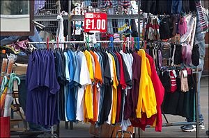 Clothes for sale at the Greenwich market.