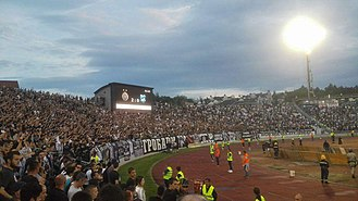 Eternal Derby (Serbia) - Partizan fans traditionally occupy the southern stands of both stadiums