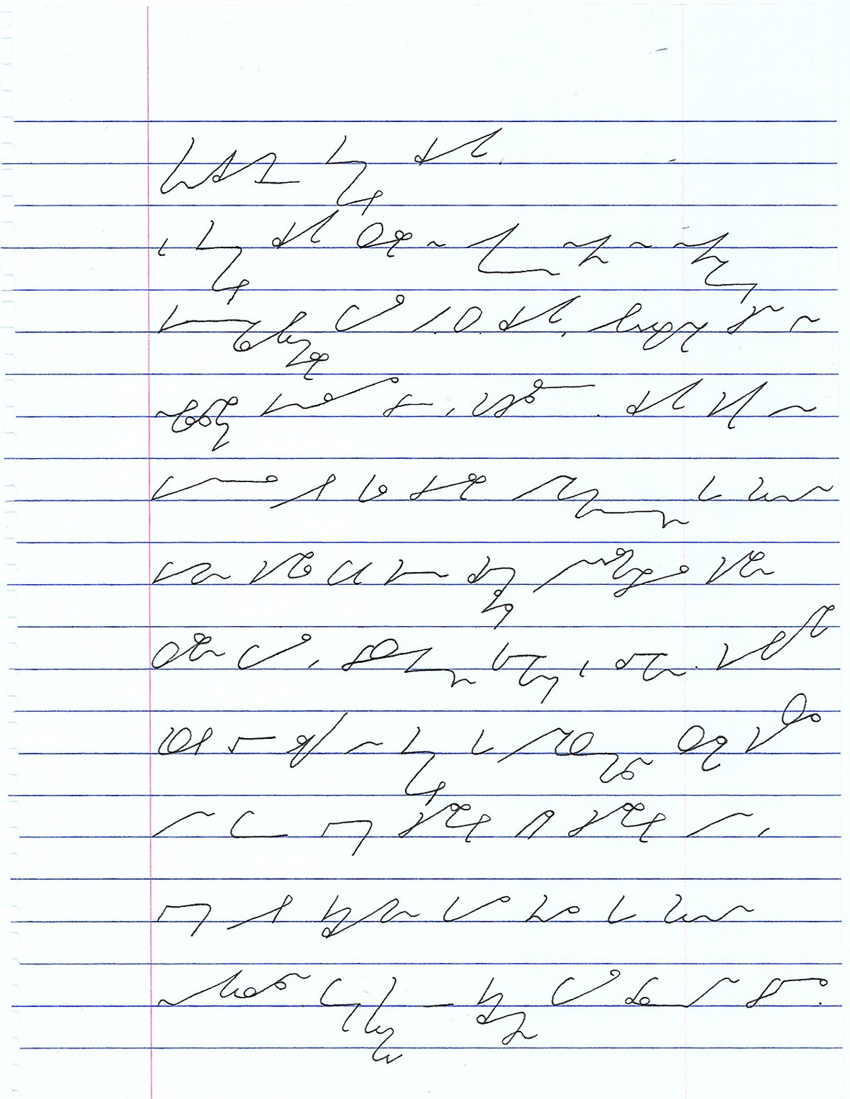 Steno handwriting