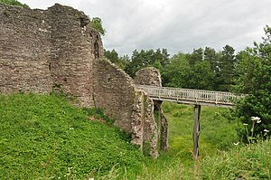 Grosmont Castle - Ditch, modern bridge and ruined gatehouse