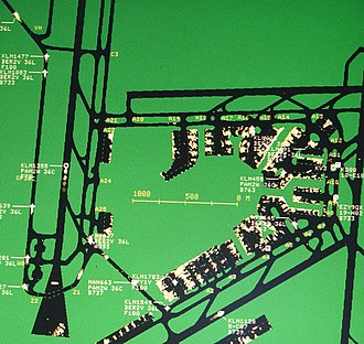 Surface movement radar - Display of the ground radar system at Amsterdam Airport Schiphol