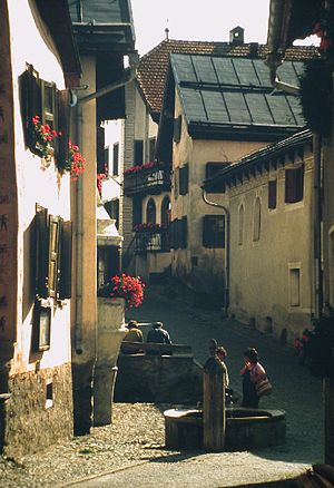 Guarda, Switzerland - Fountain in the village of Guarda