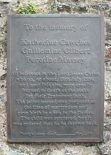 Guernsey Martyrs Three women and one infant burned at the stake in Guernsey in 1556