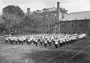 Havergal College - Gymnastics display at Jarvis Street Campus, 1908