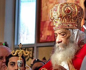 Pope Shenouda III of Alexandria - Pope Shenouda III during the consecration of a new Coptic Church in New York, US.