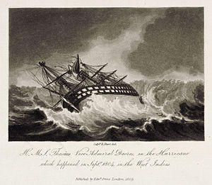 HMS Theseus (1786) - Image: H.M.S. Theseus Vice Admiral Dacres, in the Hurricane Plate 1