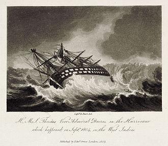 HMS Theseus (1786) - Image: H.M.S. Theseus Vice Admiral Dacres, in the Hurricane Plate 1
