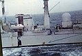 HMS Glasgow unexploded bomb exit hole on the port side.jpg
