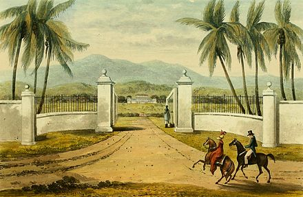 Rose Hall plantation, Jamaica c. 1820 Hakewill, A Picturesque Tour of the Island of Jamaica, Plate 20.jpg