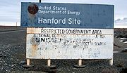 Highway sign on a road entering the Hanford Site