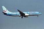 "Hapag-Lloyd Boeing 737-8K5 D-AHLR ""World of TUI"" (34049051466).jpg"
