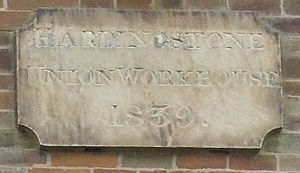 Wootton, Northamptonshire - Stone on the Old Army Barracks and former Workhouse building, now Regency Place, Wootton, Northampton