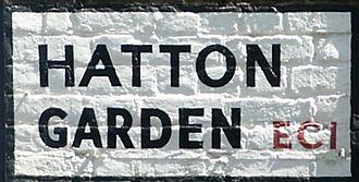 Hatton Garden - Painted road sign