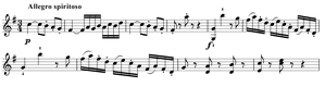 Symphony No. 92 (Haydn) - The opening theme of the first movement, as commenced by the first violins from measures 21 to 30.