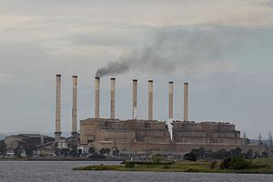 Hazelwood Power Station - Unit number three is coming back online following a shut down, resulting in a plume of visible smoke due to the electrostatic precipitators being offline for the duration of the start-up. The station's emissions (42 tonnes per minute at full production) were typically invisible under normal conditions.