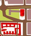Heilbronn Aufbauplan der Altstadt 1948 Ergebnis der Planer Hans Volkart, Karl Gonser und des Wettbewerbs-Lage und Umgebung Altes Stadttheater Heilbronn.png