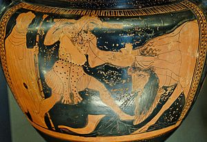 Achelousaurus - Achelous loses his horn to Hercules on an Attic krater