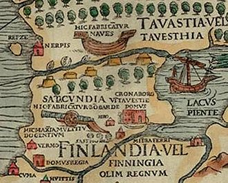 Tilde - Carta marina showing Finnish economy, with the captions Hic fabricantur naves and Hic fabricantur bombarde abbreviated