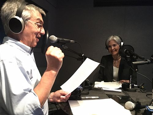 Stein with Jon Wiener, The Nation writer and host of the political podcast Start Making Sense in 2016 Historian and scholar Jon Wiener on his podcast Start Making Sense with guest Green Party candidate Jill Stein.jpg