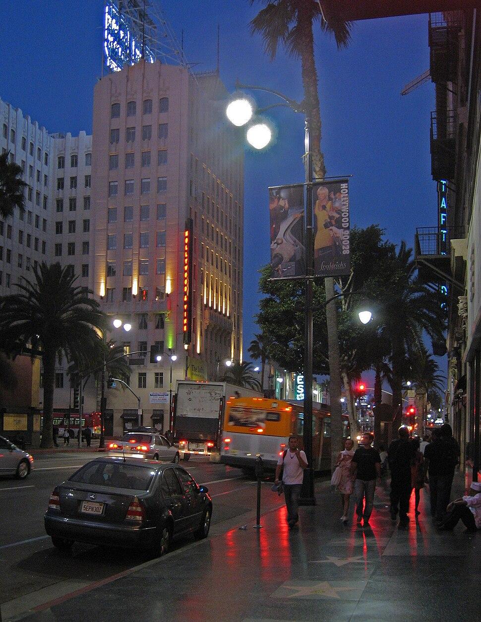 Hollywood Blvd at night