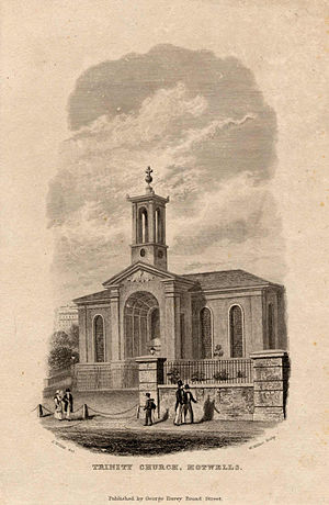 Church of Holy Trinity, Hotwells - Engraved print of Holy Trinity church, Hotwells, Bristol, UK, from c.1838, looking from the south. The street scene shows five people walking along the front of the church.