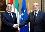 Hosni Mubarak with Italian president Giorgio Napolitano October 2009.jpg