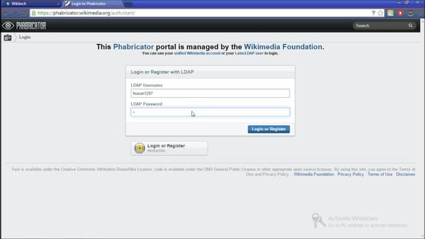 Datei:How to create an account on WikiMedia Phabricator using wikitech credentials.webm