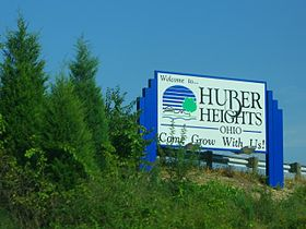 "Huber Heights welcome sign with the phrase, ""Come Grow With Us!"""