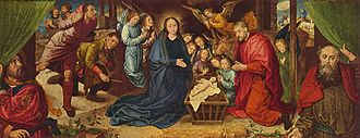 Liturgical drama - Nativity by Hugo van der Goes, believed also to borrow from stagings of the Shepherds Play. Isaiah and Jeremiah pull the curtains aside to reveal the scene