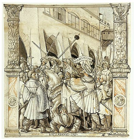 The Humiliation of Emperor Valerian by Shapur I, pen and ink, Hans Holbein the Younger, ca. 1521 HumiliationValerianusHolbein.jpg