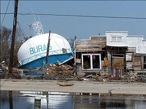 Serabee - Fallen water tower in Buras, Louisiana, where landfall occurred at 6:10 a.m. CDT on August 29, 2005
