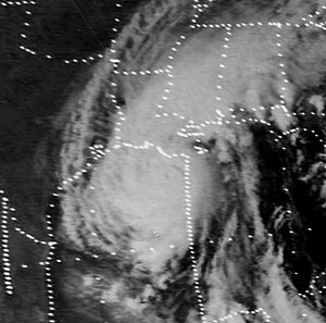 Hurricane Carmen - Image: Hurricane Carmen near United States Landfall 1974