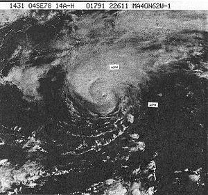 Hurricane Ella (1978) - Hurricane Ella near peak intensity, south of Canada
