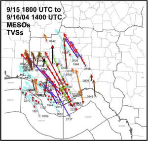 Hurricane Ivan tornado outbreak - Tracks of the 50 mesocyclones and multiple tornado vortex signatures (denoted by inverted red triangles) identified by the NWS Office in Tallahassee Florida between 1:00 p.m. on September 15 to 9:00 a.m. on September 16.